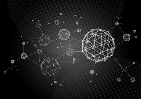 Illustration for Abstract illustration of wireframe primitives connected to each other - Royalty Free Image