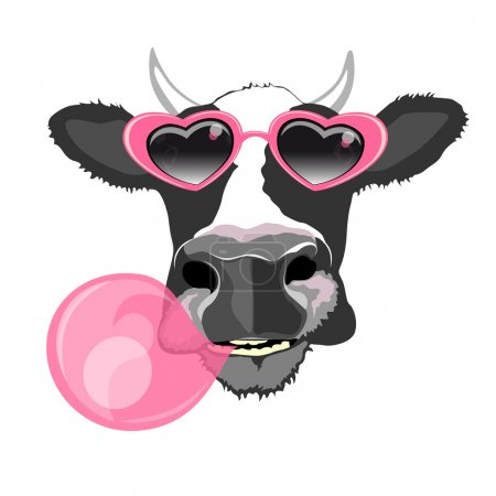 Cow in pink glasses with bubble gum
