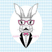 Hand Drawn Vector Fashion Illustration of Bunny Hipster party card