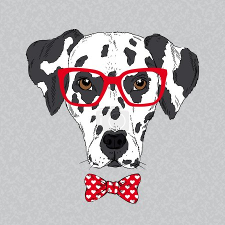 Illustration for Hand Drawn Vector Fashion Portrait of Dalmatian - Royalty Free Image