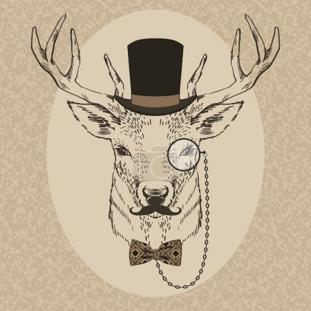 Fashion Illustration of Deer Portrait in Retro Style