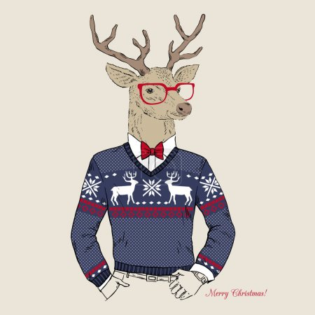 Illustration for Hand Drawn Vector Illustration of Deer Hipster in Jacquard Sweater, Merry Christmas Card - Royalty Free Image