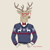 Hand Drawn Vector Illustration of Deer Hipster in Jacquard Sweater Merry Christmas Card
