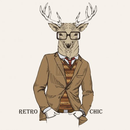 Illustration for Fashion Illustration of Deer dressed in Vintage Style, Retro Chic, Vector Image - Royalty Free Image