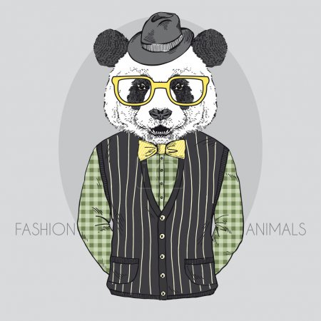 Hand Drawn Vector Fashion Illustration of Panda