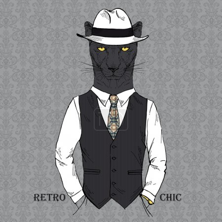 Illustration for Fashion Illustration of Panther dressed in Vintage Style, Retro Chic, Vector Image - Royalty Free Image