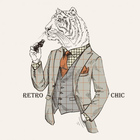 Fashion Illustration of Tiger dressed in Vintage Style