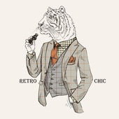 Fashion Illustration of Tiger dressed in Vintage Style Retro Chic Vector Image