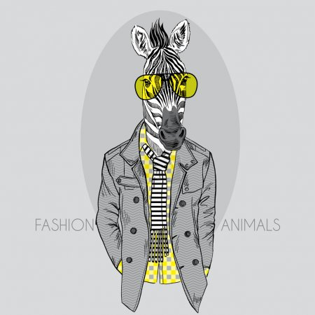 Illustration for Fashion Illustration of Zebra in Yellow Glasses Isolated on Grey Background - Royalty Free Image