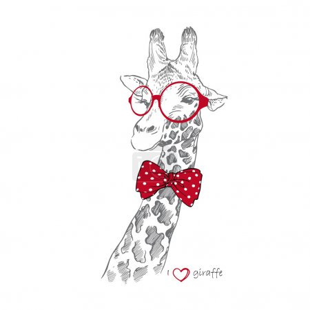 Hand drawn Illustration of Giraffe in Round Glasses