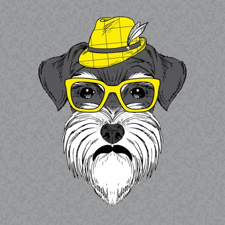 Illustration for Hand Drawn Vector Fashion Portrait of Schnauzer - Royalty Free Image