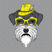 Hand Drawn Vector Fashion Portrait of Schnauzer