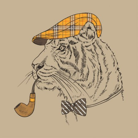 Hand Drawn Portrait of Tiger with Tobacco Tube