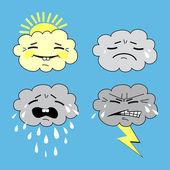 Emotion icon set vector illustration humorous meteorology weather icon set