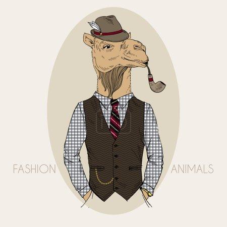 Illustration pour Illustration de mode dessinée à la main de chameau avec tube Tabacco en couleurs - image libre de droit
