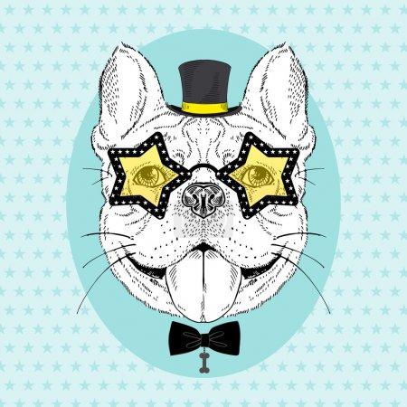 Illustration pour Portrait de bouledogue dessiné à la main - image libre de droit