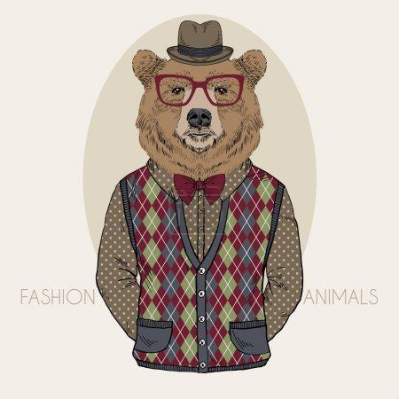Illustration pour Illustration de mode dessinée à la main de l'ours en couleurs - image libre de droit