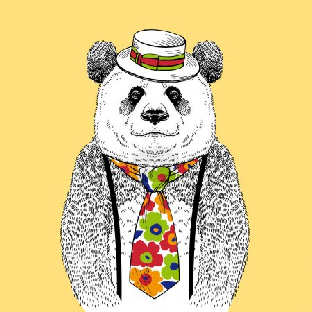 Illustration for Hand Drawn Fashion Illustration of Panda in Colorful Tie and Straw Boater isolated on light background - Royalty Free Image