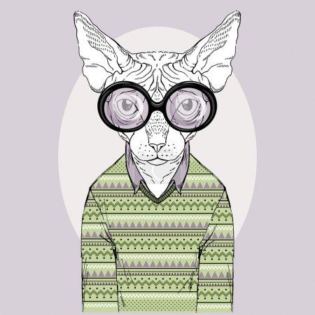 Photo pour Illustration de mode dessinée à la main de Hipster chat Sphinx - image libre de droit
