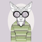 Hand Drawn Fashion Illustration of Sphinx Cat Hipster