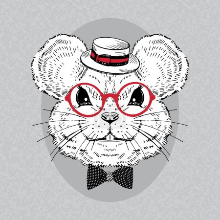 Portrait of Mouse in Boater and Retro Glasses, iso...