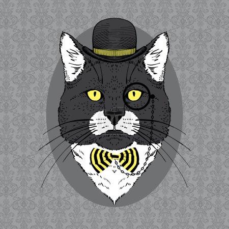 Illustration pour Portrait de mode dessiné à la main de chat en chapeau Bowler, monocle et rayé - image libre de droit