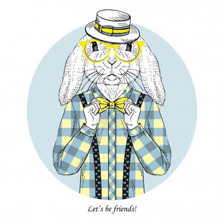 Hand Drawn fashion illustration of Bunny Hipster