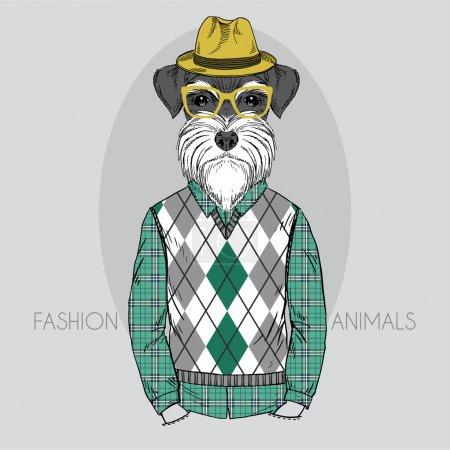 Illustration pour Illustration de mode dessinée à la main de Schnauzer Hipster en couleurs - image libre de droit