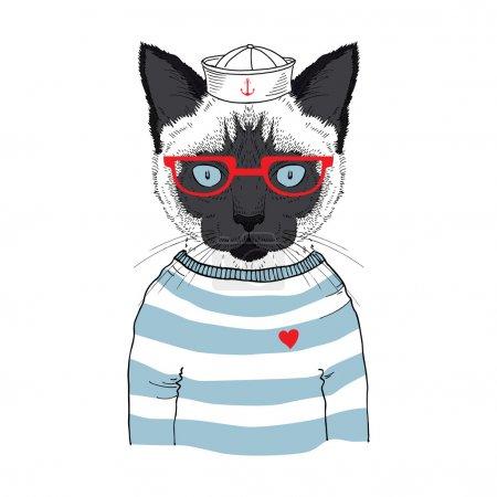 Illustration pour Illustration dessinée à la main de chat marin siamois isolé sur blanc - image libre de droit