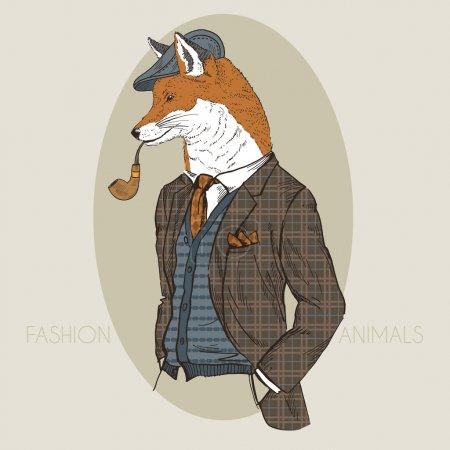 Illustration pour Illustration de mode dessinée à la main de renard habillé en couleurs - image libre de droit