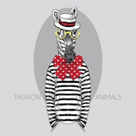 Illustration for Hand drawn fashion illustration of dressed up zebra - Royalty Free Image