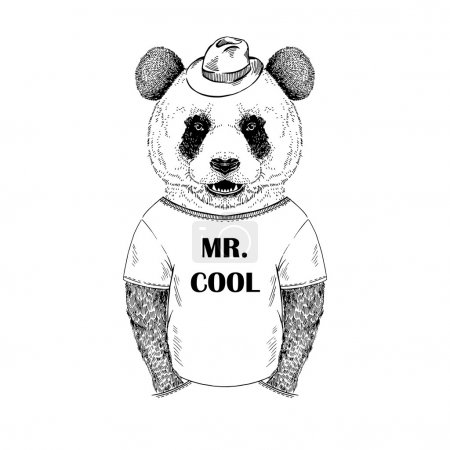 Illustration for Hand drawn illustration of dressed up panda hipster in black and white isolated on white - Royalty Free Image