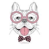 Hand drawn fashion portrait of bulldog boy hipster