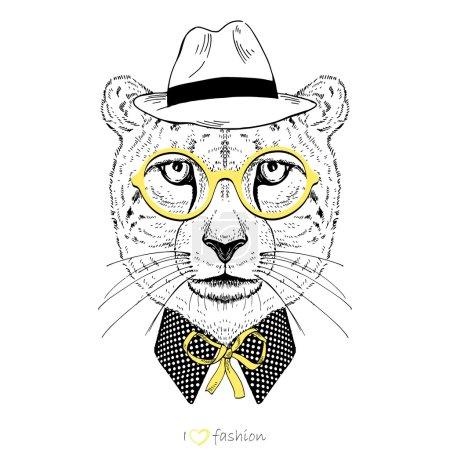 Hand drawn portrait of cheetah boy hipster