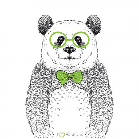 Hand drawn illustration of panda hipster