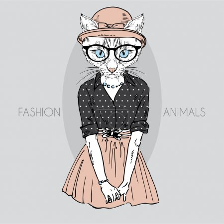 Illustration for Hand drawn fashion illustration of cute cat girl in colors - Royalty Free Image