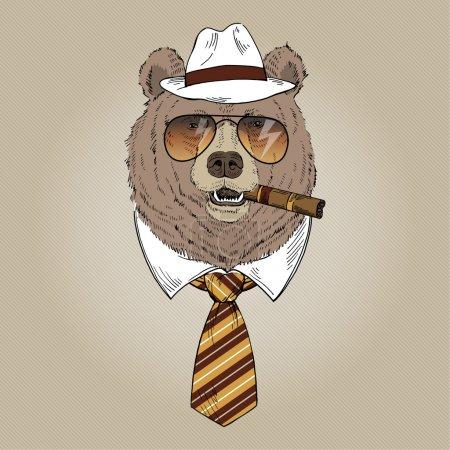 Illustration pour Ours fantaisie portrait cigare fumeur - image libre de droit
