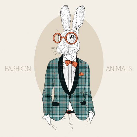 Hand drawn fashion illustration of bunny hipster d...