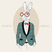 Hand drawn fashion illustration of bunny hipster dressed up in trendy plaid coat