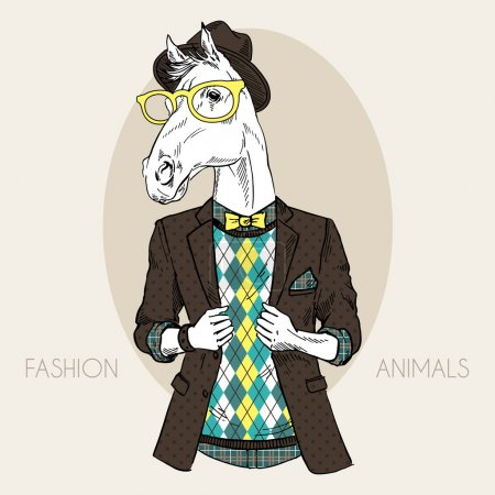 Illustration for Hand drawn fashion illustration of horse hipster in colors - Royalty Free Image