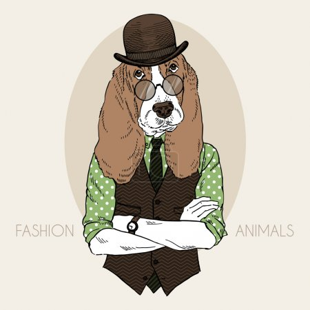 Illustration of hound hipster in colors