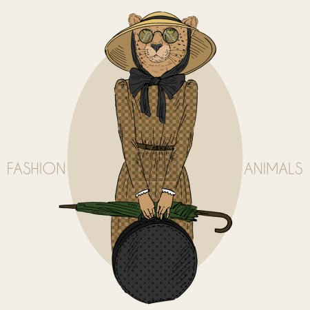 Illustration for Hand drawn cheetah girl dressed up in vintage style isolated on white - Royalty Free Image