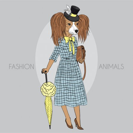 Toy terrier girl dressed up in retro style