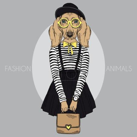 Dachshund girl hipster
