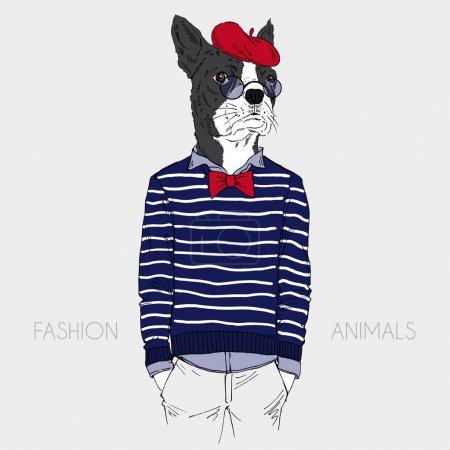 Ilustración de Ilustración de bulldog francés vestida en elegante estilo francés - Imagen libre de derechos