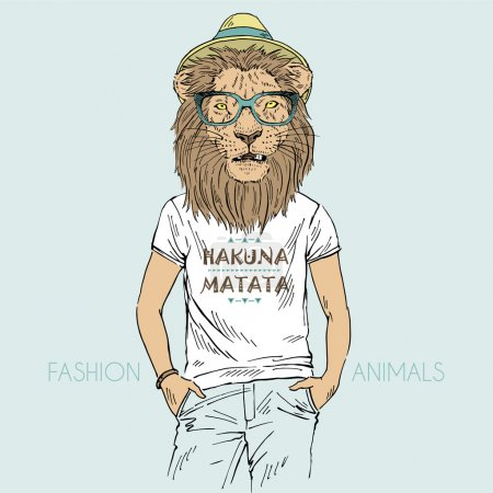 Illustration for Lion dressed up in t-shirt with quote Hakuna Matata - Royalty Free Image