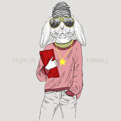 Illustration of bunny girl dressed up in casual style