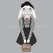 Fashion illustration of bunny girl hipster