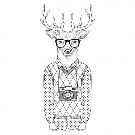 dressed up deer hipster