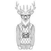 dressed up deer hipster